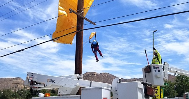 Fire Department Rescues a California Parachutist Who Landed Unsuccessfully on Power Lines