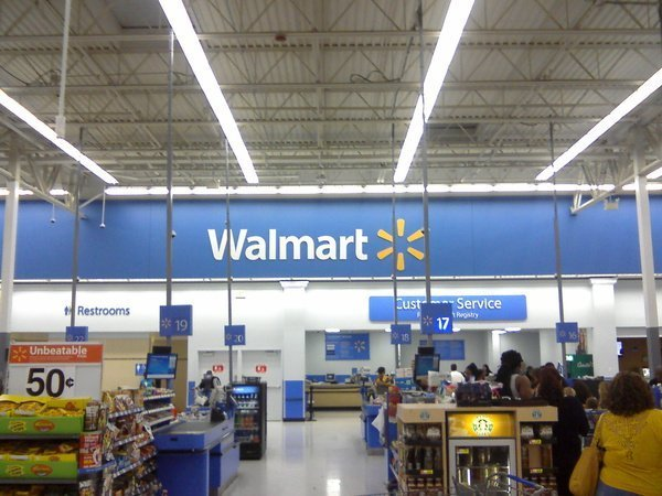 The inside of a Walmart store. Image credit: Wikimedia Commons