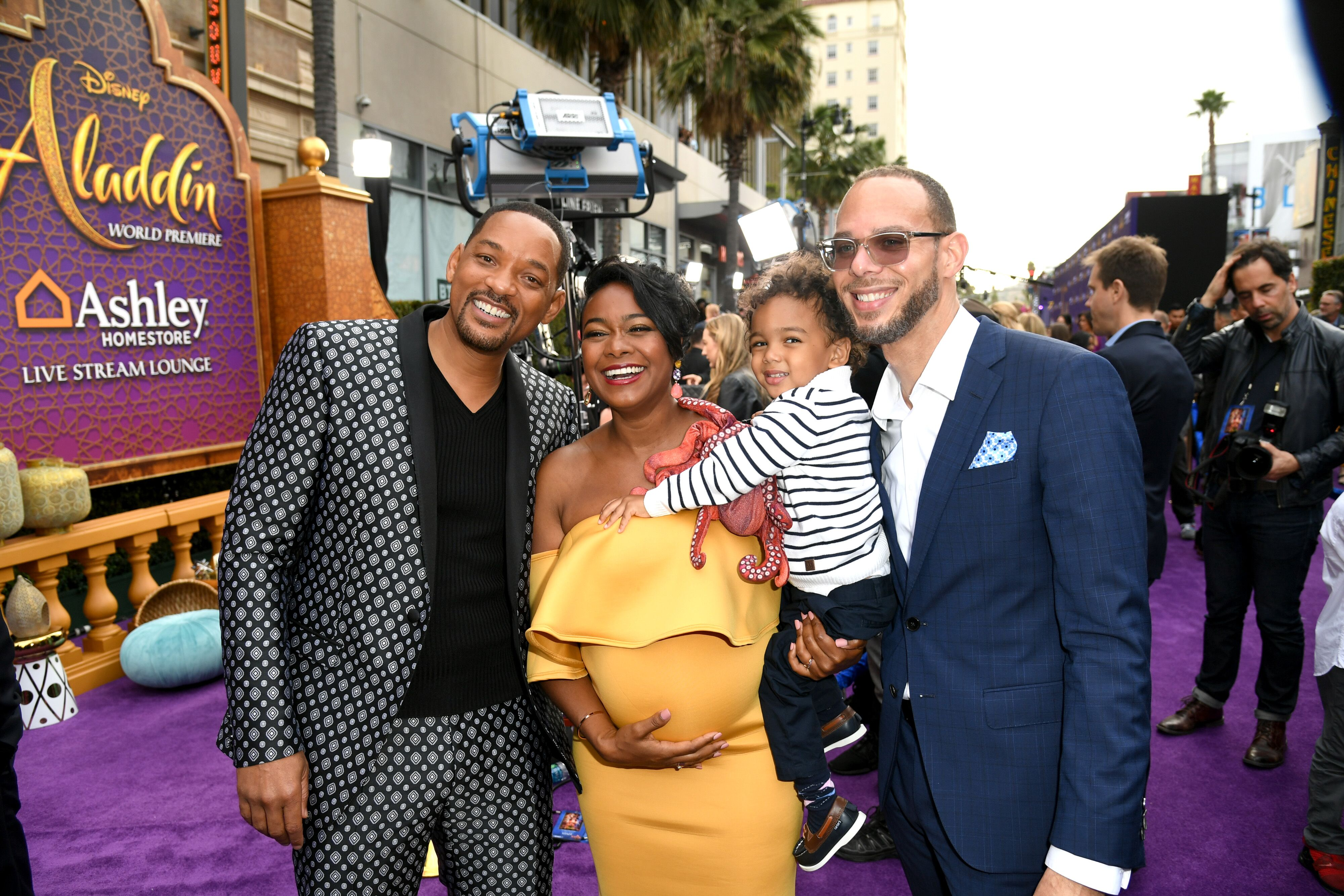 """Tatyana Ali with Will SMith at the 2019 premiere of """"Aladdin""""