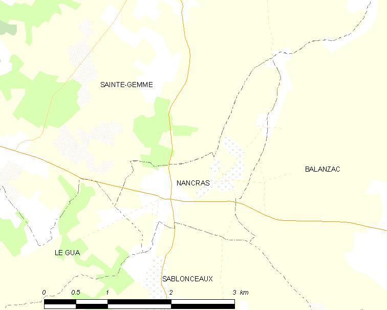 Map communal, Nancras, Charente-Maritime. | Wikimedia Commons