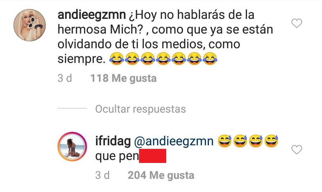 Comentario que desató debate bajo foto de Frida Sofía. | Imagen: Instagram/ Ifrida