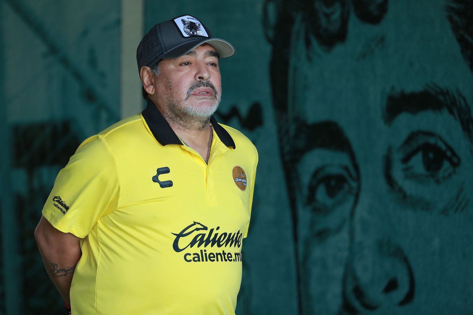 Diego Armando Maradona, coach of Dorados de Sinaloa looked on at the 11th round match between Zacatepec and Dorados as part of the Torneo Apertura 2018 Ascenso MX at Agustin 'Coruco Diaz Stadium on October 06, 2018   Photo: Getty Images
