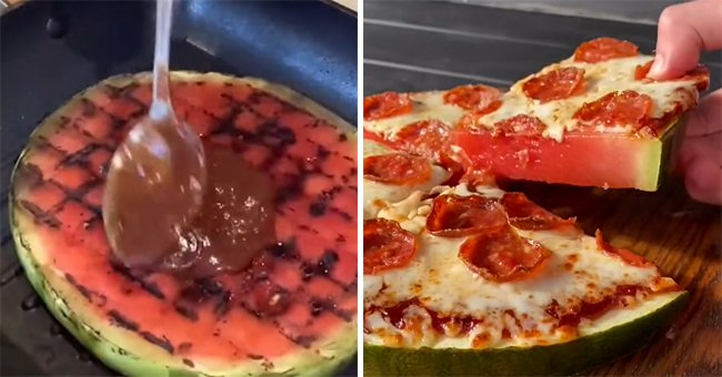 Dominos makes their own version of the watermelon pizza and it features tomato sauce and pepperonis     Photo: TikTok/dominosau