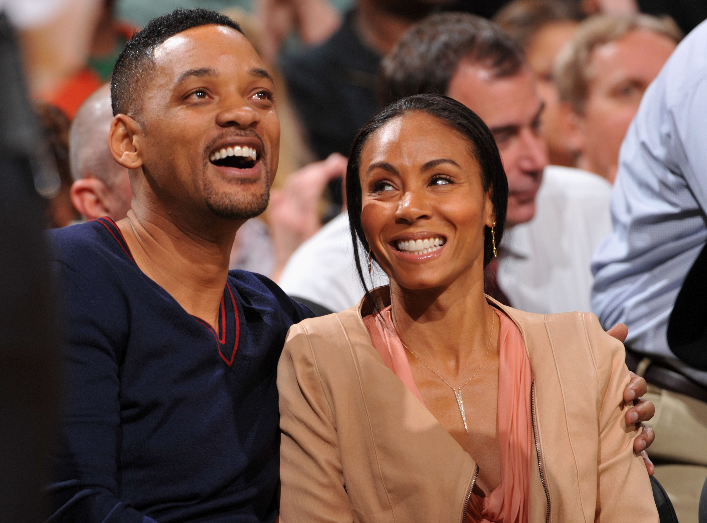 Will Smith and Jada Pinkett watch Game Five of the Eastern Conference Semifinals between the Philadelphia 76ers and Boston Celtics during the 2012 NBA Playoffs on May 21, 2012 at the TD Garden in Boston, Massachusetts. | Source: Getty Images