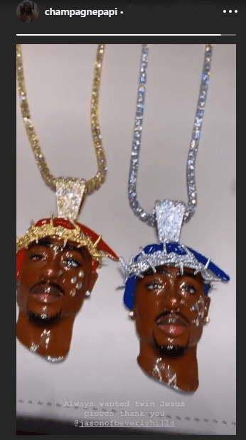 """The """"twin Jesus pieces"""" owned by Drake to honor Tupac Shakur, as he shared in social media in July 2020. I Image: Instagram/ @champagnepapi"""