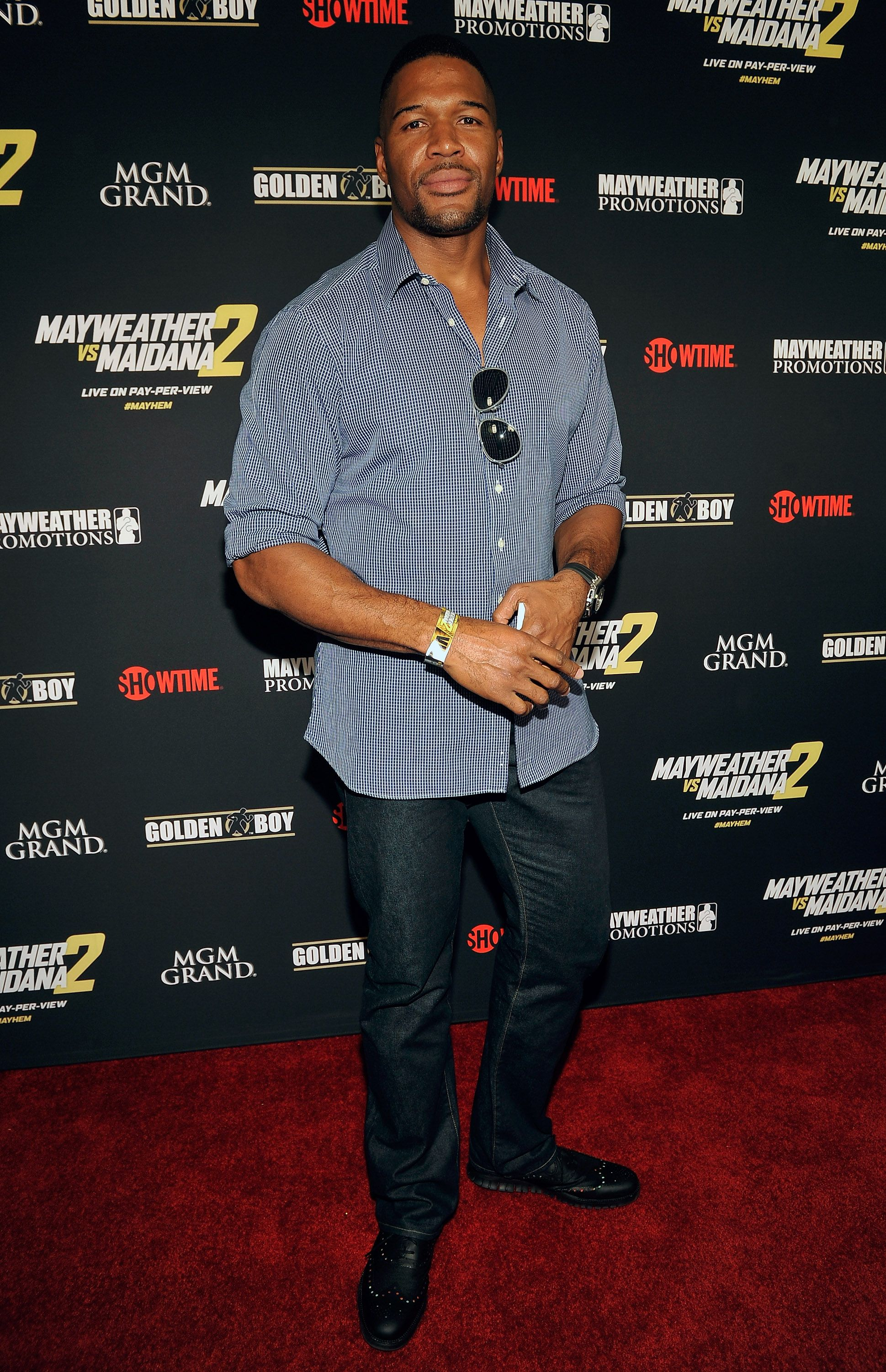 """Michael Strahan arriving at Showtime's VIP prefight party for """"Mayhem: Mayweather vs. Maidana 2"""" on September 13, 2014 in Las Vegas. 