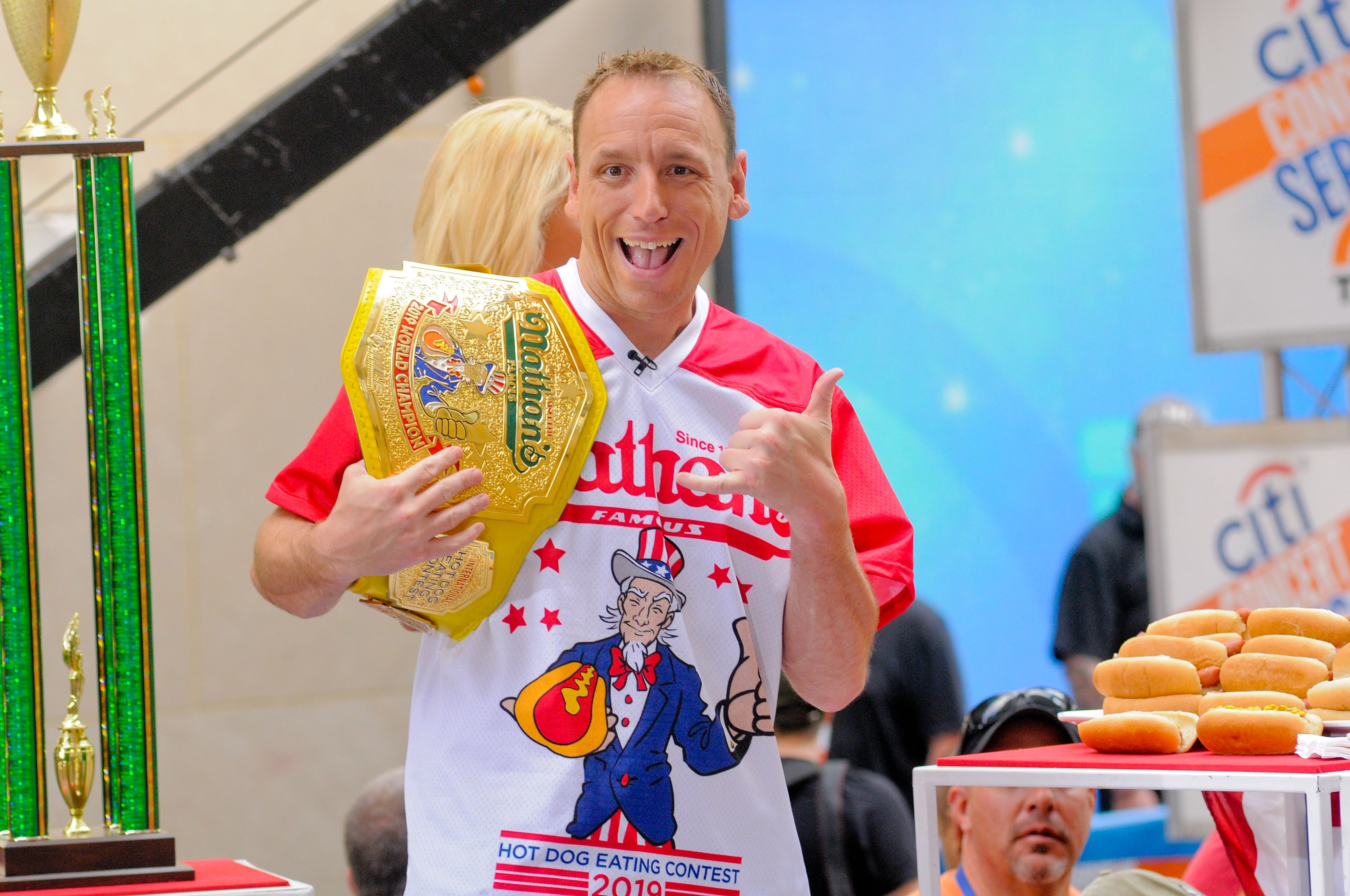 Joey Chestnut in New York City on NBC's Today Show in 2019 | Source: Getty Images