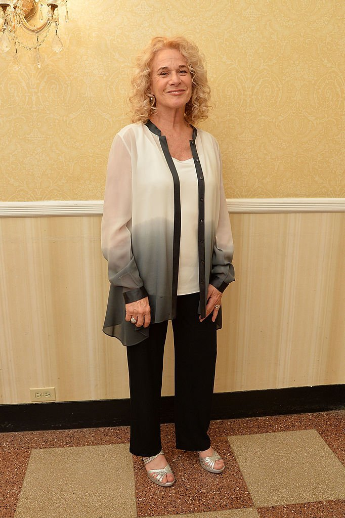 Carole King poses in a press room at the 68th Annual Tony Awards  | Getty Images