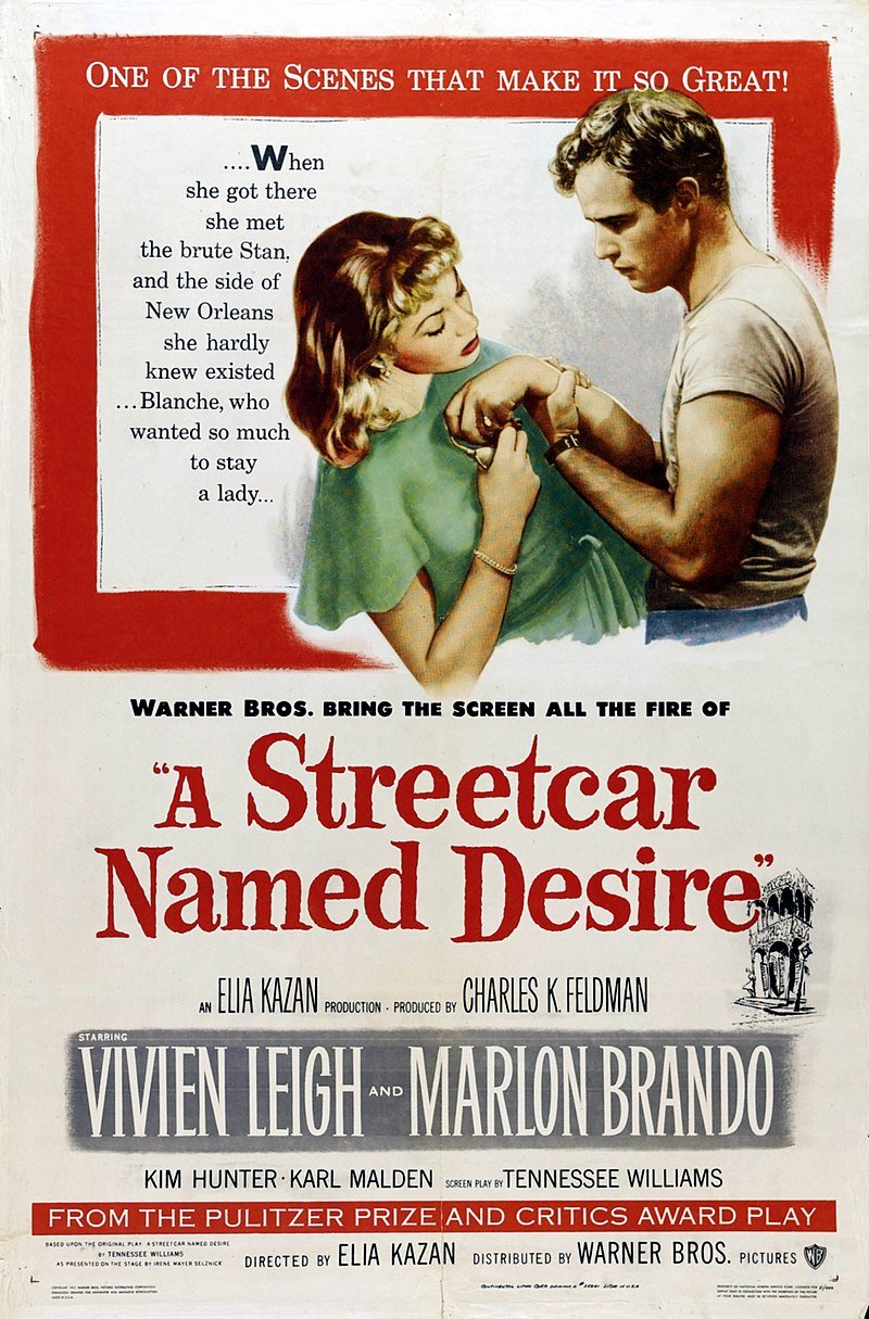 """Poster for the 1951 film, """"A Street Car Named Desire"""" 