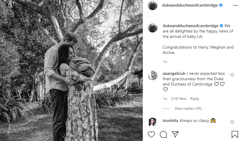 A family photo of Prince Harry, Meghan Markle and Archie.   Photo: Instagram/dukeandduchessofcambridge