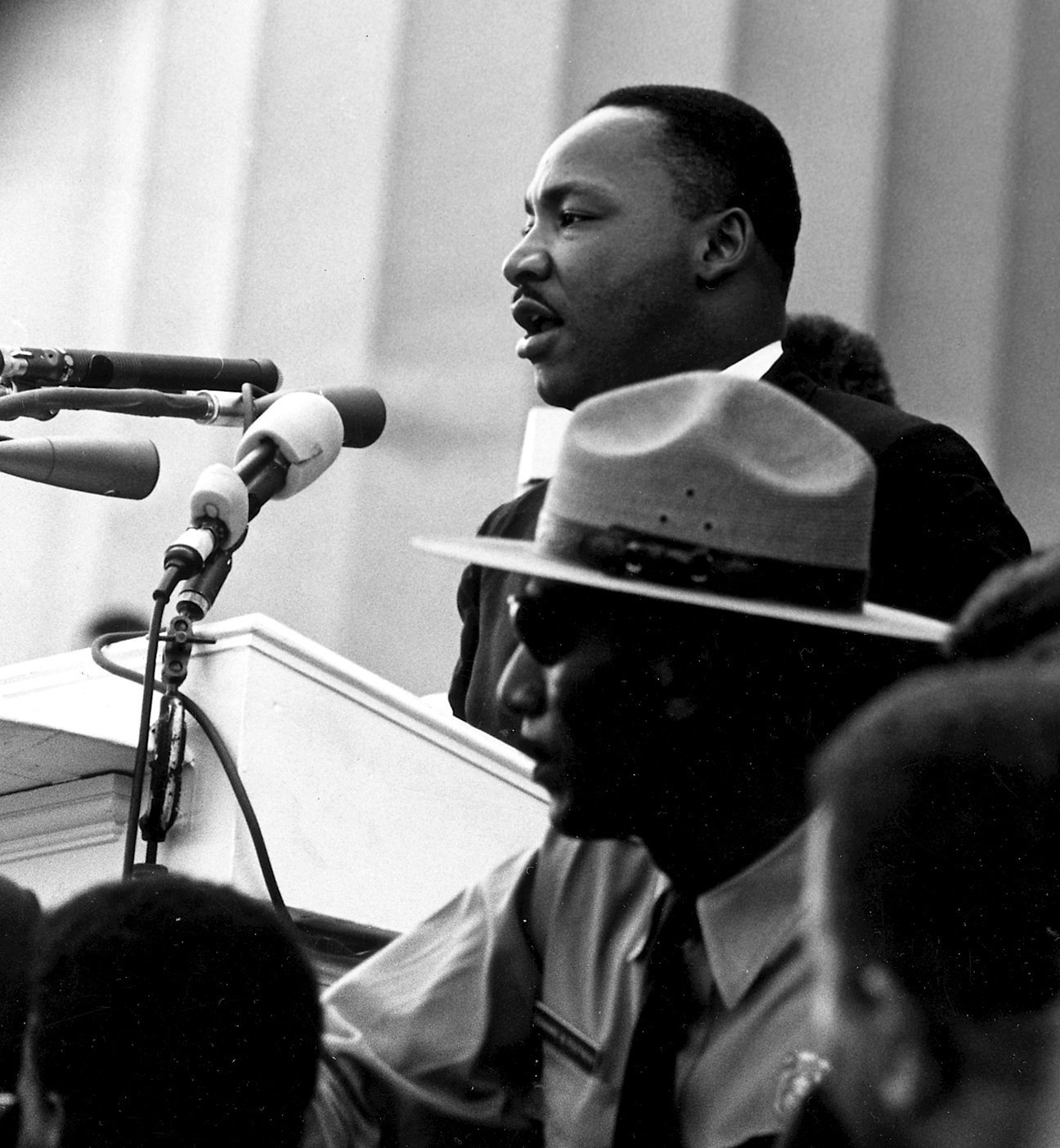 "King gave his most famous speech, ""I Have a Dream"", before the Lincoln Memorial during the 1963 March on Washington for Jobs and Freedom. 