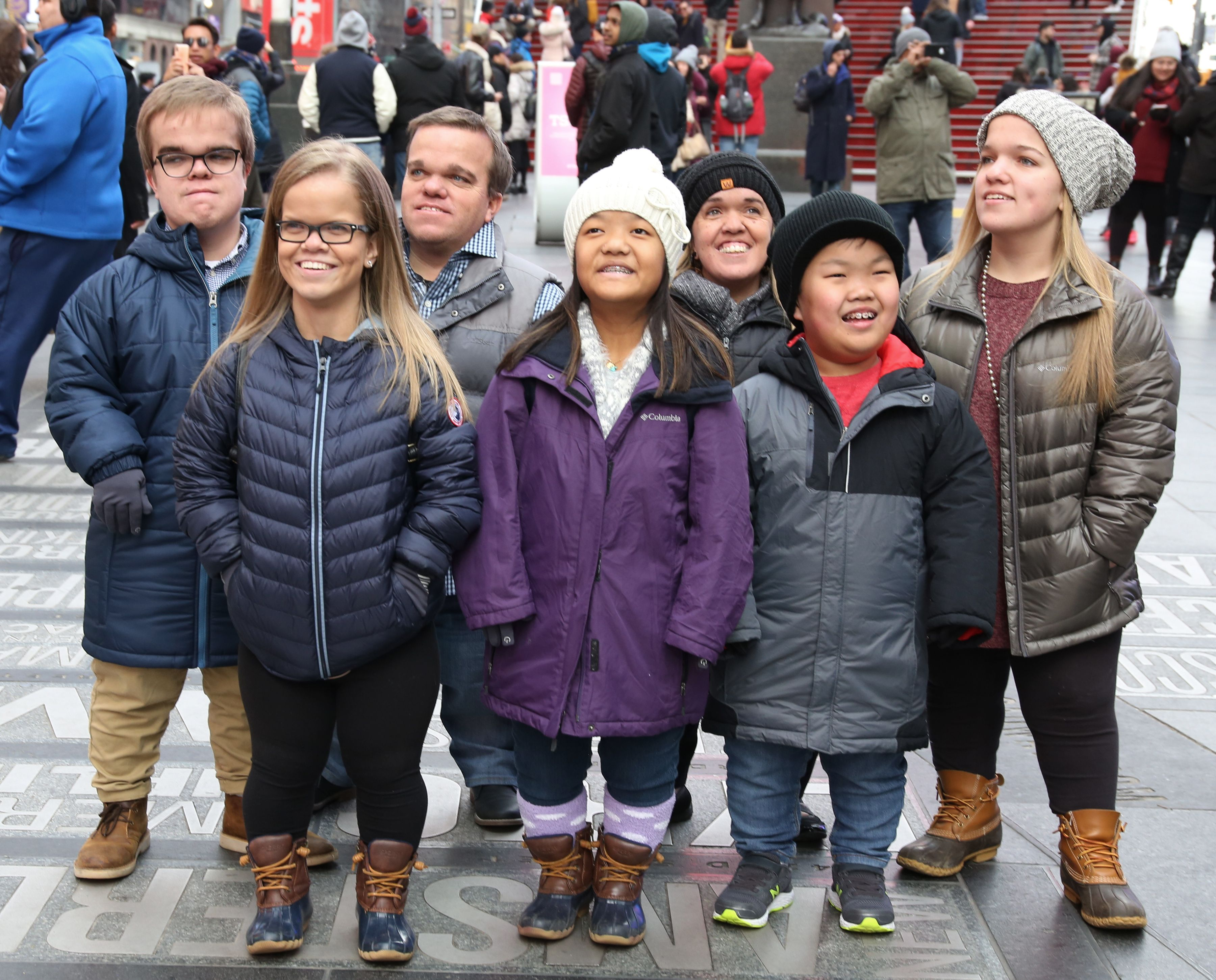 """The cast of TLC's """"7 Little Johnstons"""" filming a visit to Times Square on January 4, 2019 