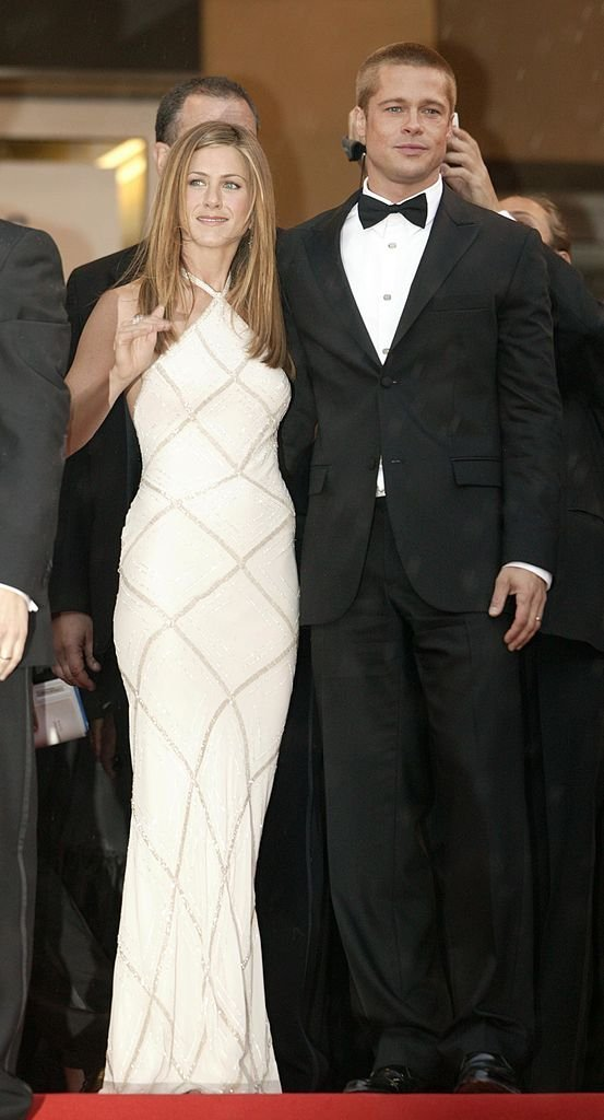 "Brad Pitt and Jennifer Aniston attend the World Premiere of epic movie ""Troy"" at Le Palais de Festival 