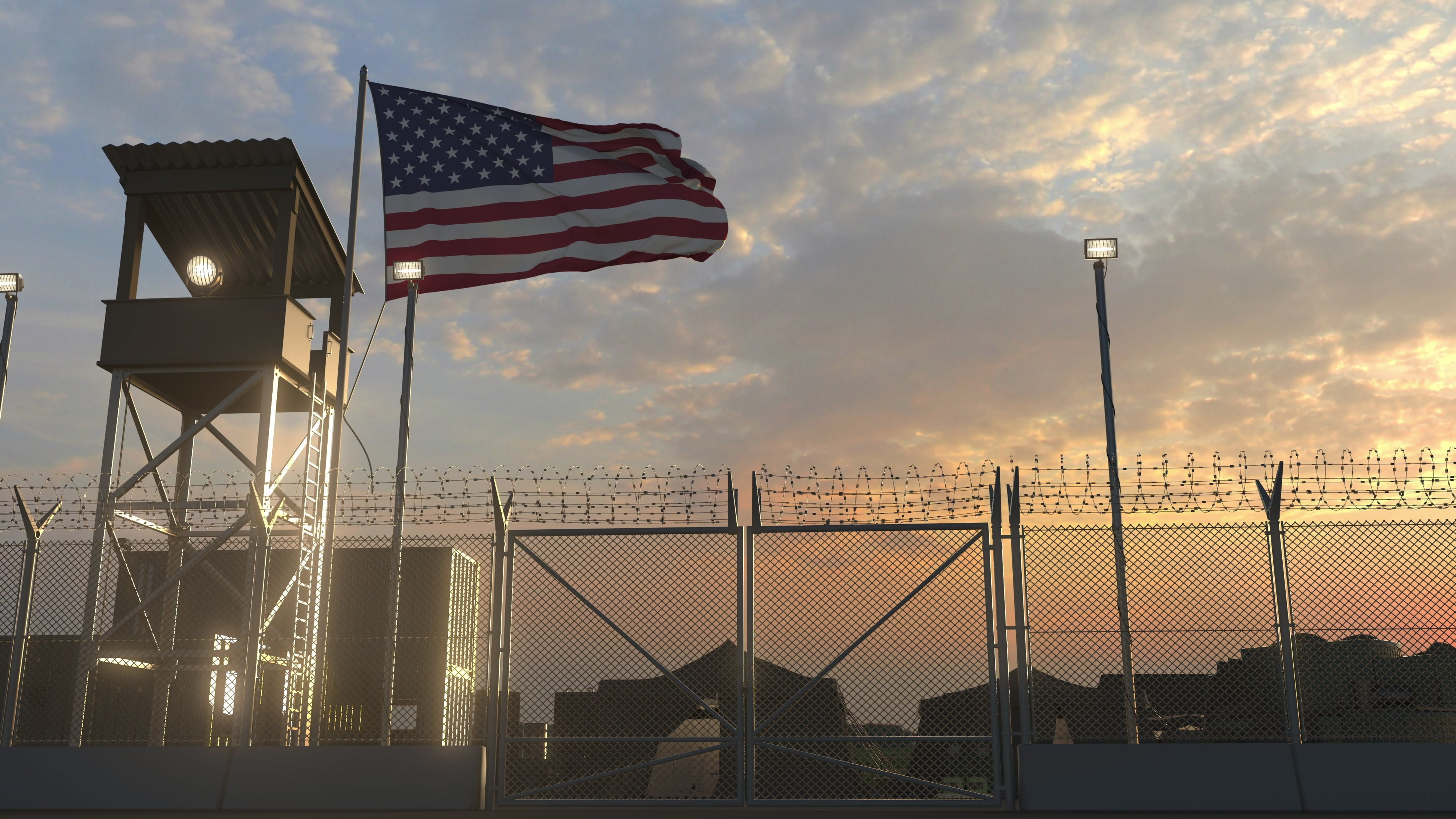 Military base with waving flag 3d rendering   Photo: Shutterstock
