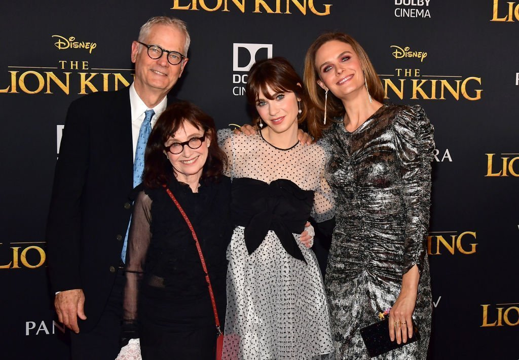 """Caleb Deschanel, Mary Jo Deschanel, Zooey Deschanel and Emily Deschanel attends the premiere of Disney's """"The Lion King"""" at Dolby Theatre. 