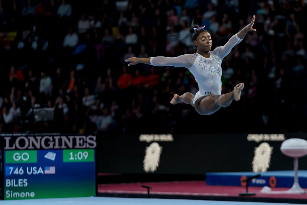 Simone Biles performing a floor routine during the 49th FIG Artistic Gymnastics Championships in Stuttgart, Germany on October 10, 2019. | Photo: Getty Images