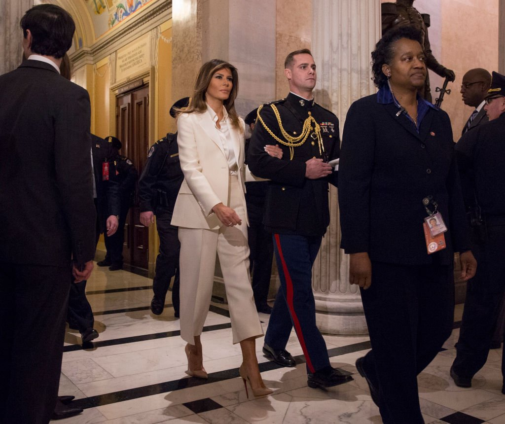 U.S. first lady Melania Trump departs The Capitol at the conclusion of President Donald J. Trump's State of the Union Address on Capitol Hill January 30, 2018 | Photo: GettyImages