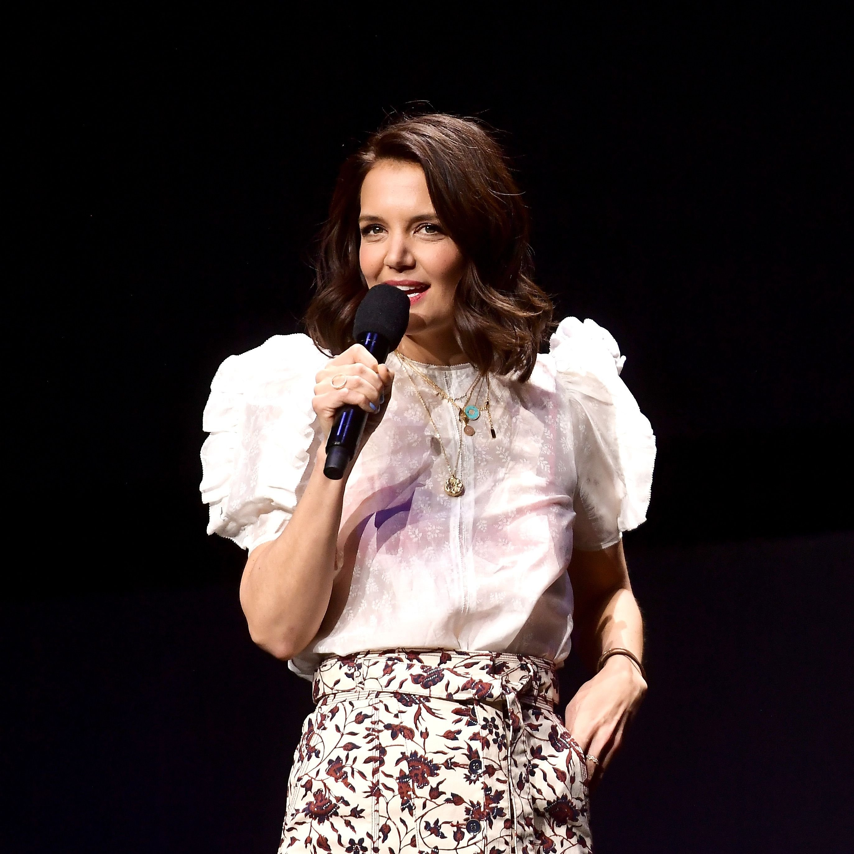 Katie Holmes speaks onstage at CinemaCon 2019 The State of the Industry and STXfilms Presentation at The Colosseum at Caesars Palace during CinemaCon, the official convention of the National Association of Theatre Owners, on April 2, 2019 | Photo: Getty Images