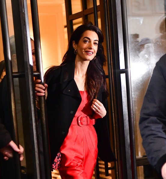 Amal Clooney leaving Duchess of Sussex's baby shower in New York City. | Source: Getty Images