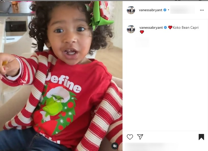 Vanessa and Kobe Bryant's daughter, Capri looking adorable on her mom's Instagram page | Photo: Instagram/vanessabryant