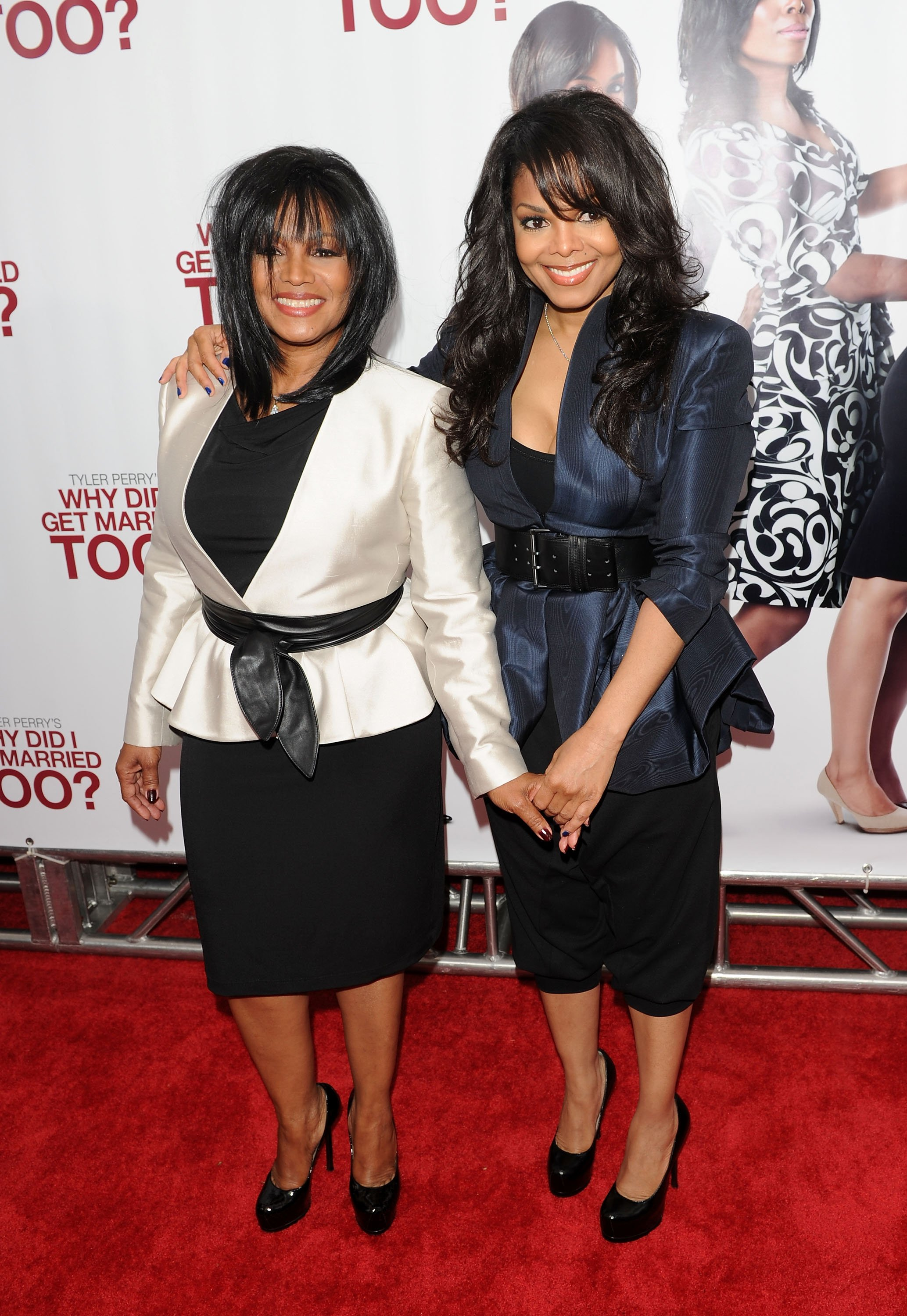 """Rebbie Jackson and Janet Jackson attending the special screening of """"Why Did I Get Married Too?"""" in New York in March 2010. 