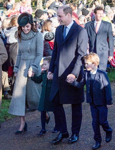 Prince William, Duke of Cambridge, Prince George of Cambridge, Catherine, Duchess of Cambridge and Princess Charlotte of Cambridge attend the Christmas Day Church service at Church of St Mary Magdalene on the Sandringham estate on December 25, 2019 in King's Lynn, United Kingdom | Photo: Getty Images