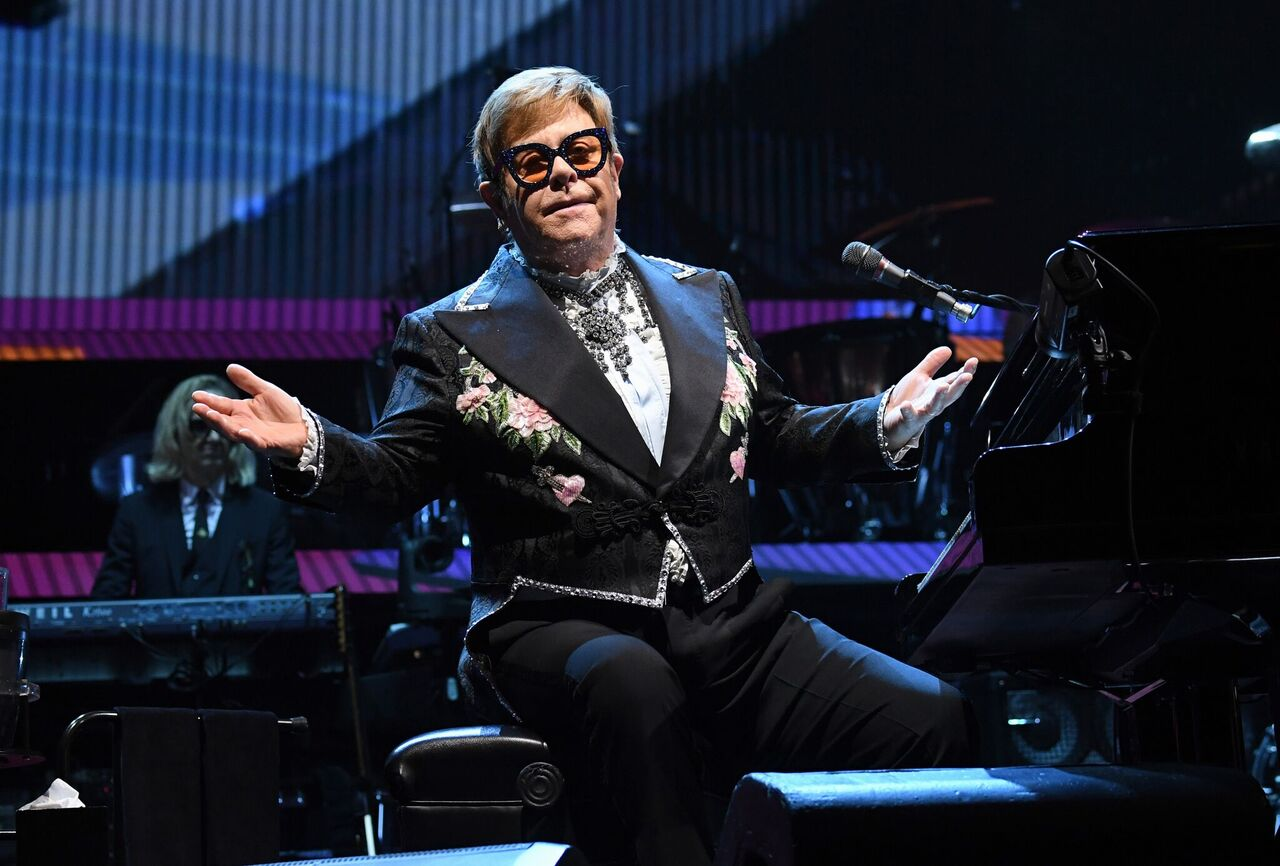 "Elton John performs onstage during his ""Farewell Yellow Brick Road"" tour at Madison Square Garden on November 9, 2018 in New York City. 