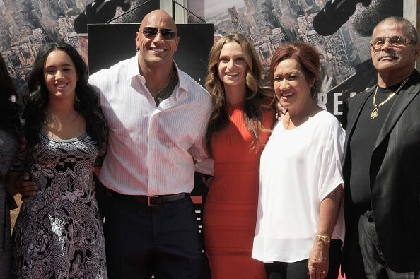 Dwayne Johnson, wife Lauren, daughter Simone,  mom Ata and dad Rocky Johnson at the TCL Chinese Theatre in Hollywood/ Source: Getty Images