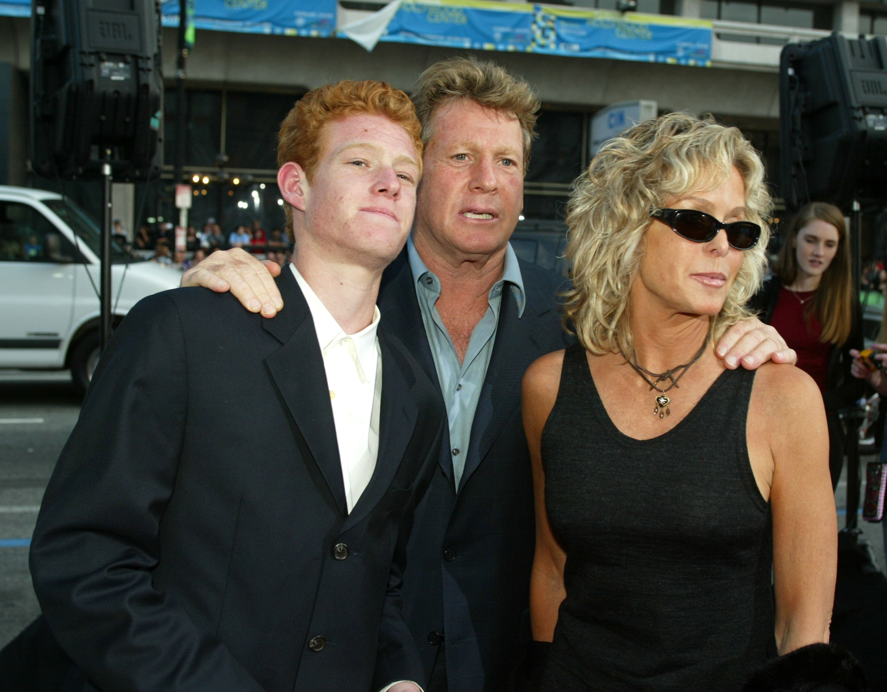 """Ryan O'Neal and Farrah Fawcett and their son Redmond at the premiere of """"Malibu's Most Wanted"""" on April 10, 2003, in Los Angeles, California. 