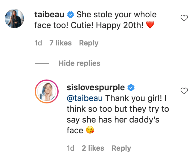 Tai Beauchamp commented on a photos of Simone Smith and her daughter Nina Symone | Source: instagram.com/sislovespurple