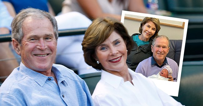 Former U.S. President George W. Bush and former First Lady Laura Bush attend the game between the Seattle Mariners and the Texas Rangers at Globe Life Park in Arlington on September 19, 2015 in Arlington, Texas, the next image shows the couple with their newborn granddaughter Cora at the hospital  | Photo: Getty Images and Instagram/@george.w.bush
