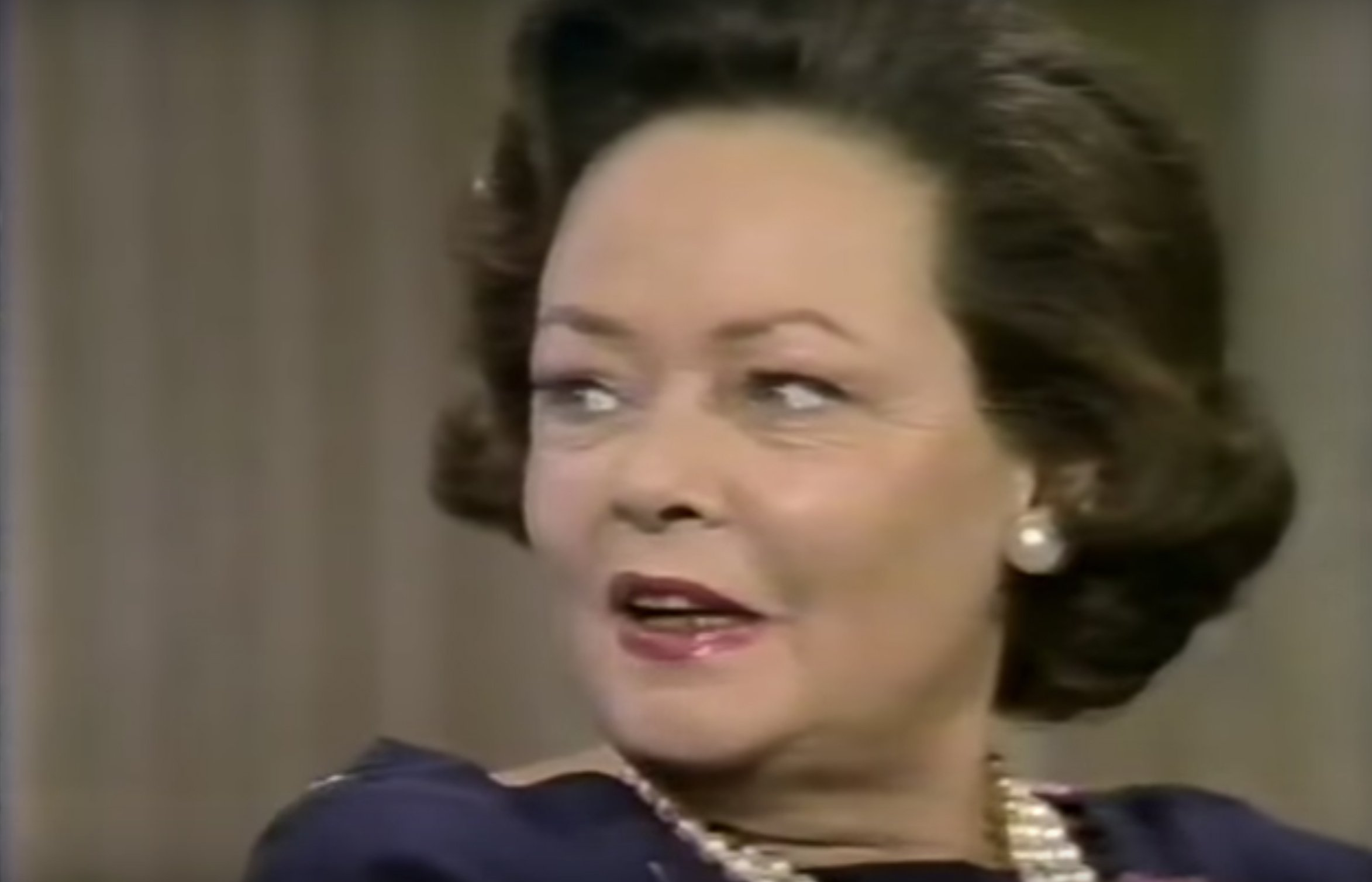Gene Tierney during an 1979 TV interview. : Source: YouTube/AlanEichler