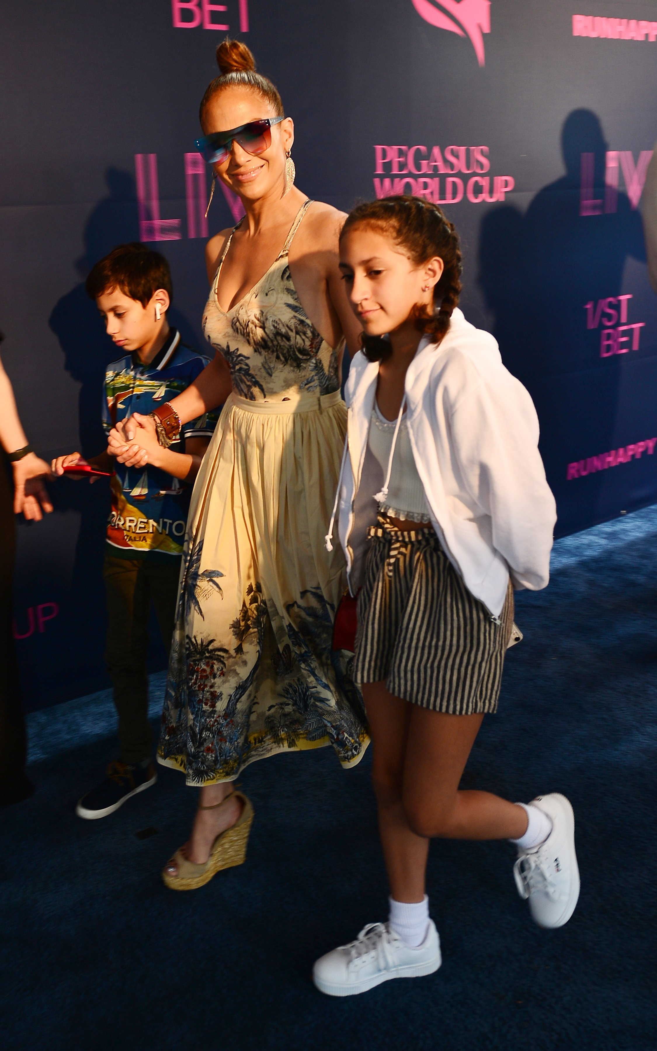 Jennifer Lopez with son Maximilian and daughter Emme attending the Pegasus World Cup Championship in Hallandale Beach, Florida on January 25, 2020 | Photo: Getty Images