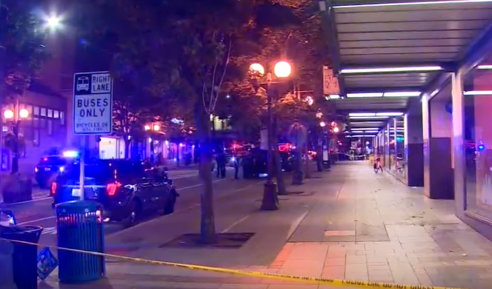 Police vehicles parked outside the Link light rail Westlake station in Seattle | Photo: KING 5