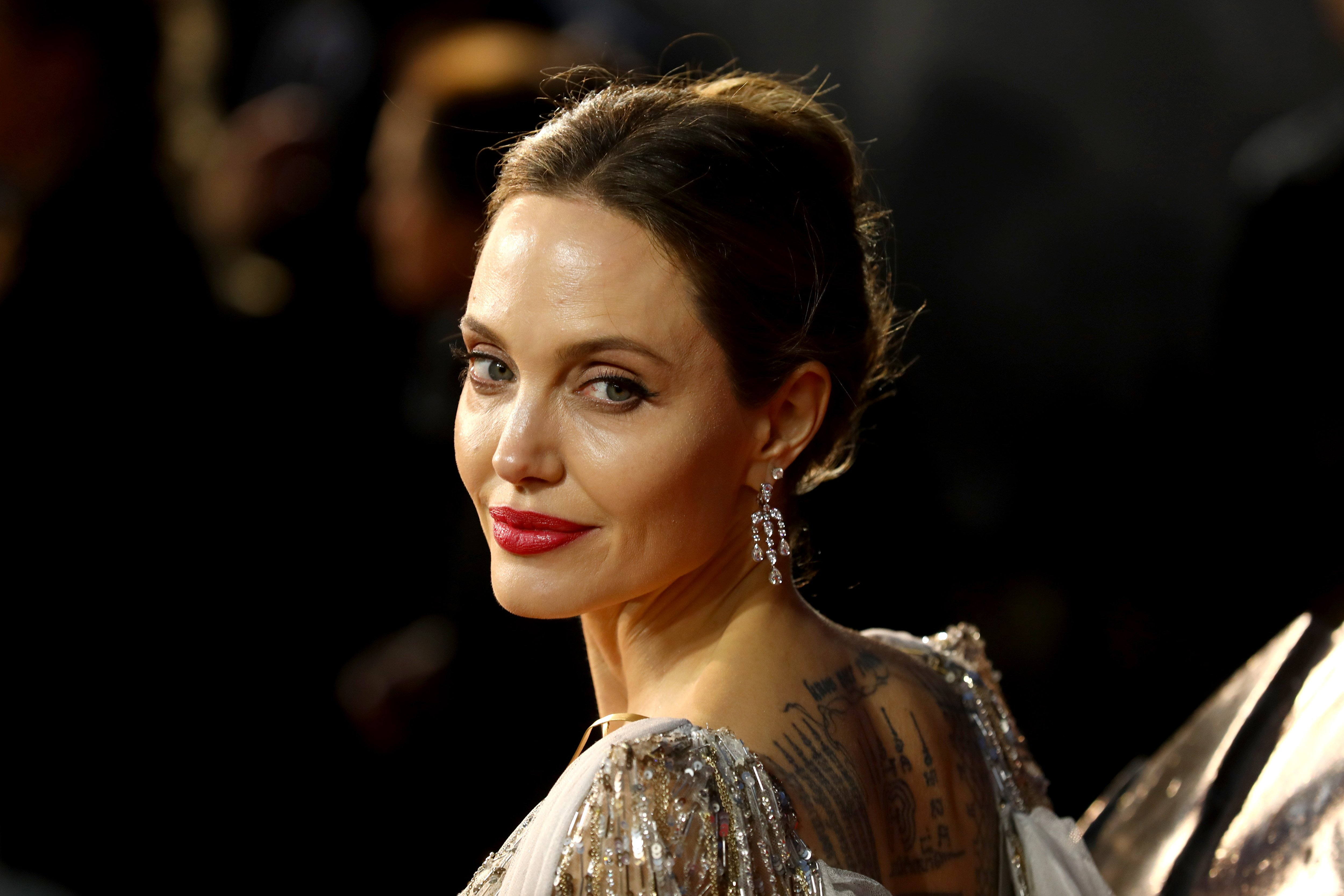 """Angelina Jolie at the European premiere of """"Maleficent: Mistress of Evil"""" at Odeon IMAX Waterloo on October 9, 2019. 