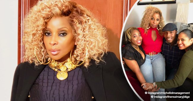 Mary J. Blige stuns in tight jeans and plunging red top in Christmas photo with her 'sister'