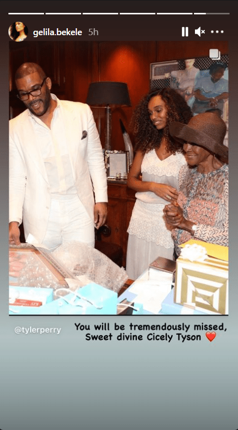 Photo of Tyler Perry, Gelila Bekele, and Cicely Tyson accompanied with a tribute message for the actress | Photo: Instagram/gelila.bekele
