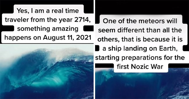 TikTok user Aery Yormany claiming to be a time traveler, sharing their predictions for the future on the platform. │Source: tiktok.com/aesthetictimewarper