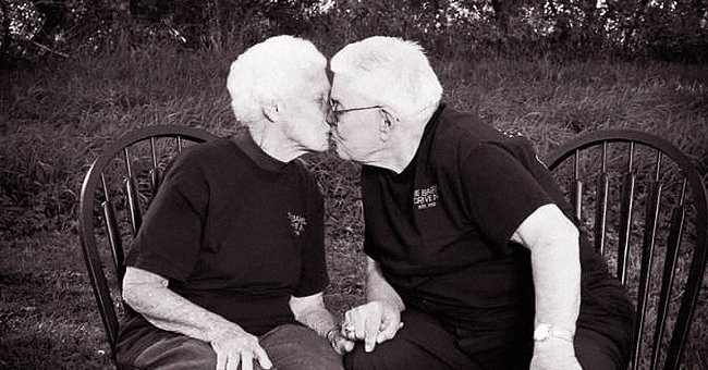 Elderly couple Wanda Wold and James Wold giving each other a kiss.   Source: facebook.com/dan.engstler.1