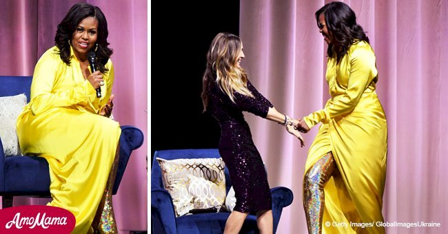 Michelle Obama glows in a yellow dress discussing her book with style queen Sarah Jessica Parker