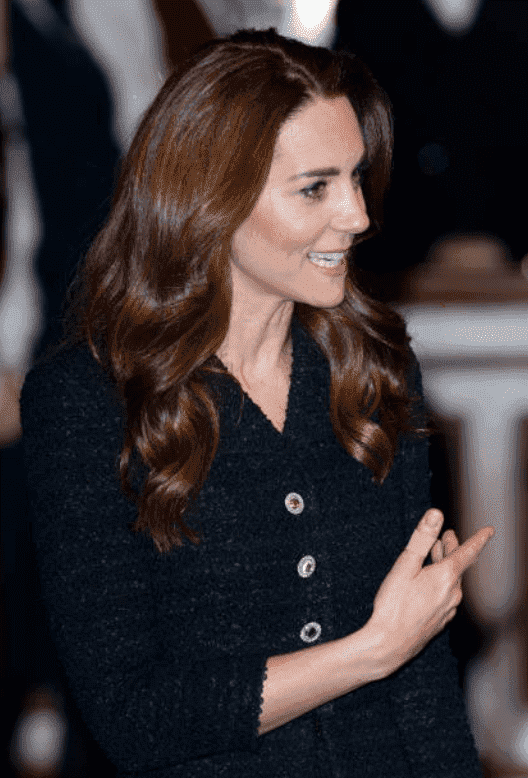 """In aid of The Royal Foundation, Kate Middleton arrived for s special performance of """"Dear Evan Hansen"""" at the Noel Coward Theatre on February 25, 2020, in London, England 