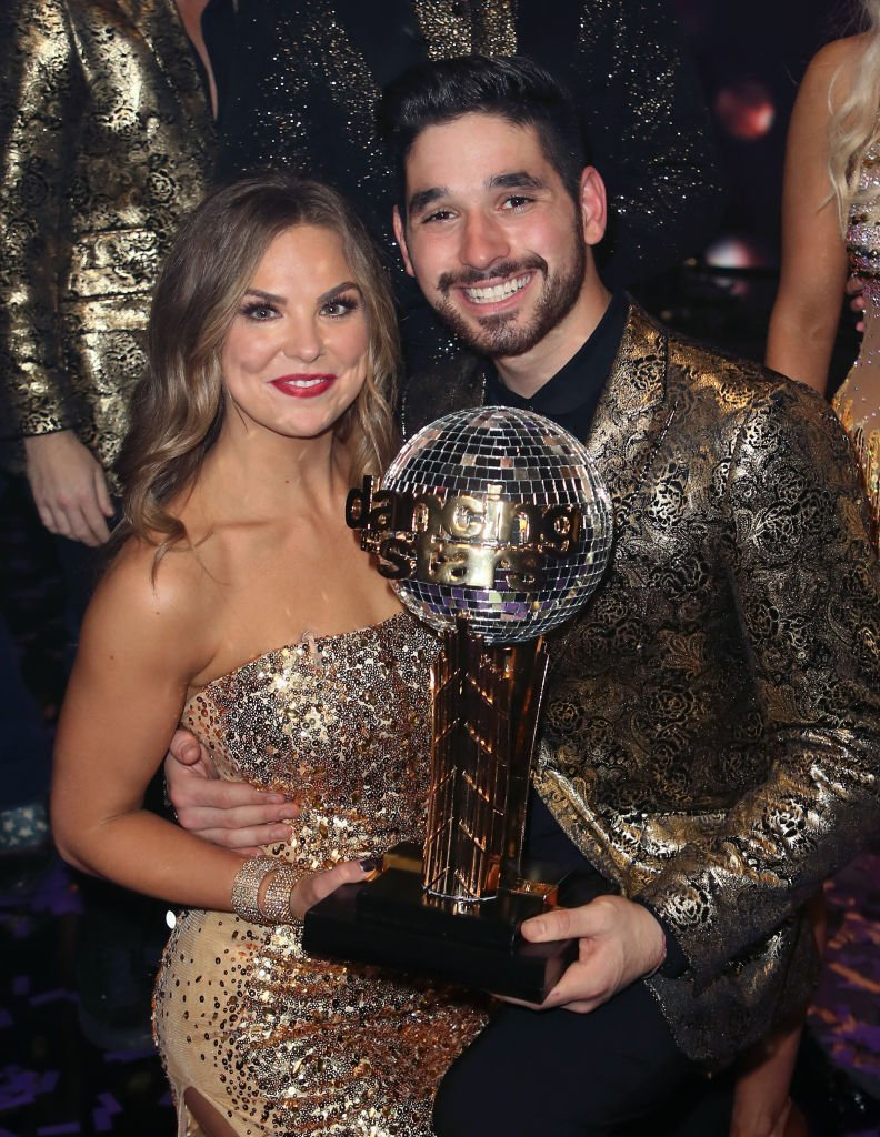"Hannah Brown and Alan Bersten pose at ""Dancing with the Stars"" Season 28 Finale at CBS Television City  