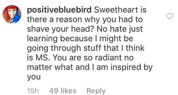 Fan's comment on Salma Blair's post.   Source: Instagram/salmablair