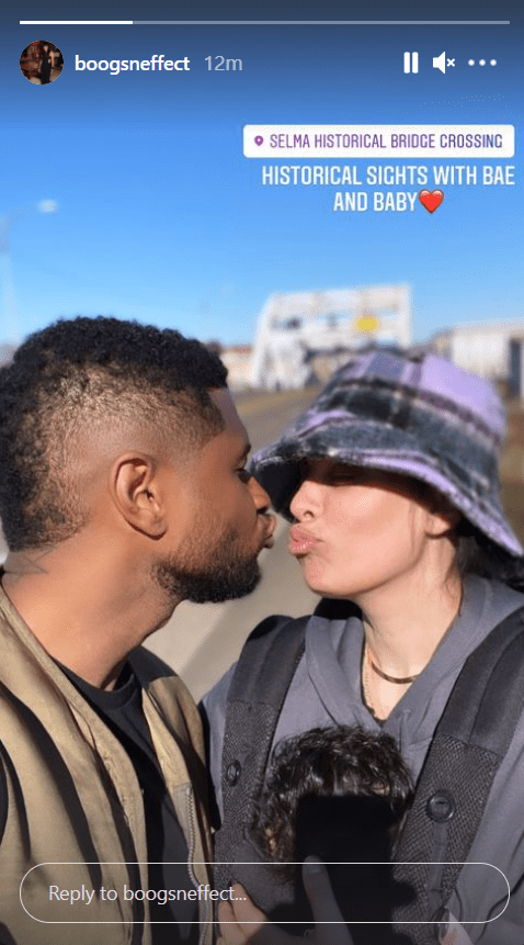 A picture of talented singer-songwriter, Usher, sharing a kiss with his girlfriend on Instagram | Photo: Instagram/boogsneffect