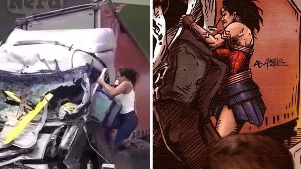 Heldin beim Versuch, den Fahrer zu retten - Quelle: Animación de Angelo France