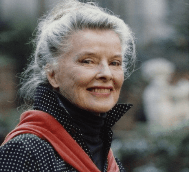 Katharine Hepburn outside her house on East 48th Street in Manhattan, New York City, May 1987.   Photo: Getty Images