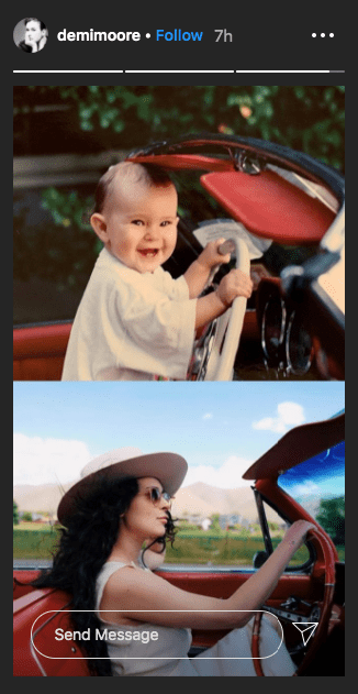 Images of Rumer Glenn as a baby and adult behind the wheels of a car | Photo: Instagram/@demimoore