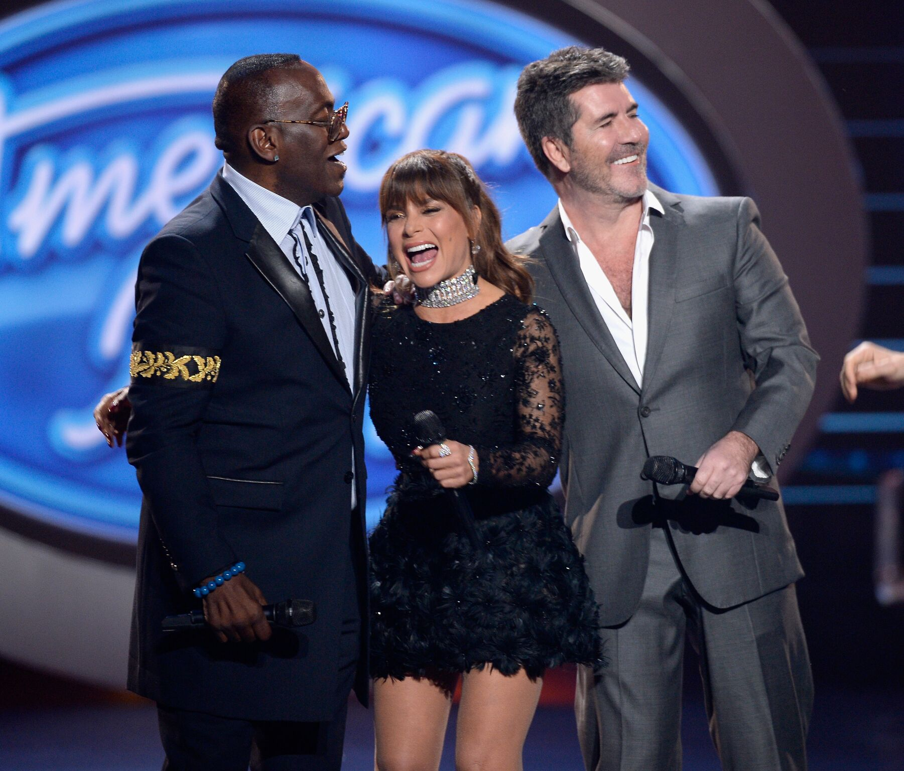 "Season 1 judges Randy Jackson, Paula Abdul and Simon Cowell speak onstage during FOX's ""American Idol"" Finale 