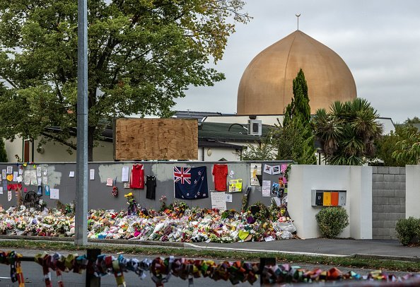 Flowers and tributes are laid outside Al Noor mosque, Christchurch | Photo: Getty Images