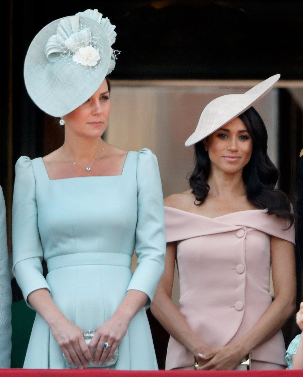 Duchess of Cambridge, Kate Middleton and Duchess of Sussex, Meghan Markle stand on the balcony of Buckingham Palace during Trooping The Colour 2018 on June 9, 2018   Photo: Getty Images